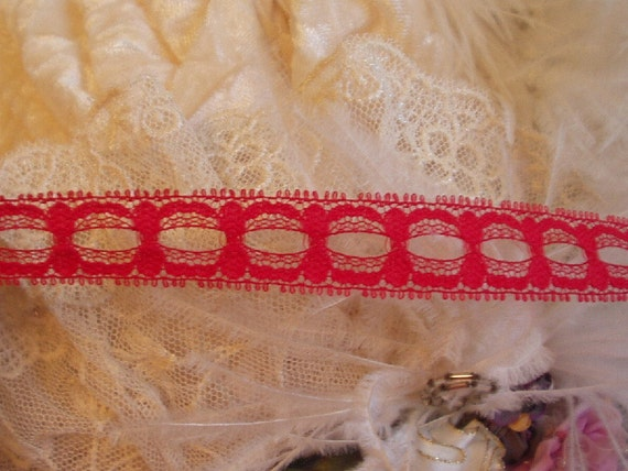 2 Yards -Red Boudoir Lingerie Insertion Lace,  RHS,  Trim, Edging, Victorian,