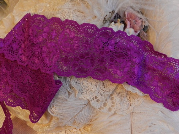 "2 yds. Rich Purple Plum - 2 5/8"" W.- Stretch Lace, Elegant Ligerie, Altered Couture, Headbands,"
