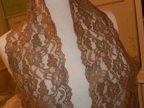 6 In Wide Golden Brown Chantilly Gallon Lace, Trim, Edging, Scarfs, - By the Yard