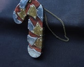 RESERVED/ M. Buentello Steampunk'd Candy Cane Ornament