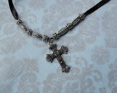RESERVED/ Lara L. Silver Cross Ribbon Necklace