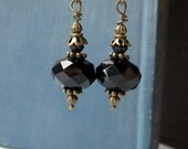 Black Dangle Earrings in Antiqued Brass Setting