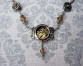 Watch Gear Pendant/ Elegant Steampunk - Champagne and Silver