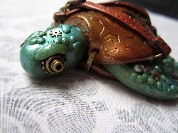 Steampunk Industrial Sea Turtle Brass and Tan