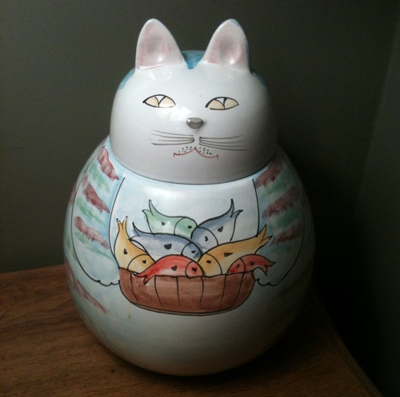 Cat Cookie Jar Canister made in Italy for Pier 1 in the 80's