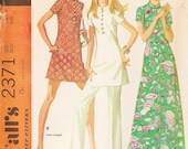 Vintage Sewing Pattern - 1970 Misses Dress and Pants, McCall's 2371 Size 14 Bust 36