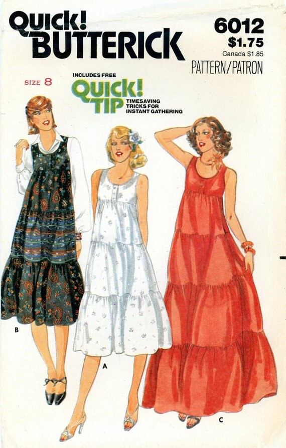 Vintage Sewing Pattern 1970s Misses Dress Butterick 6012