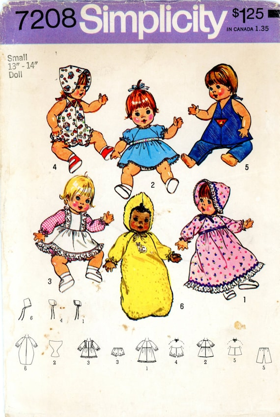 """Vintage Sewing Pattern - 1975 Wardrobe for Baby Dolls Sizes 13-14"""", Simplicity 7208"""