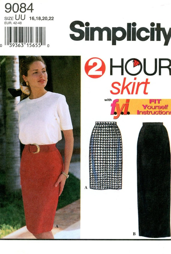 Sewing Pattern Misses 1994 Skirt in Two Lengths, Simplicity 9084 Sizes 16-22 Waist 30-37