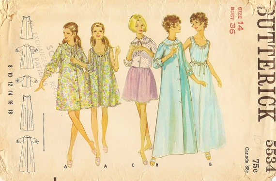 Vintage Sewing Pattern - 1960s Misses Nightgown, Robe, and Jacket, Butterick 5534 Size 14 Bust 36