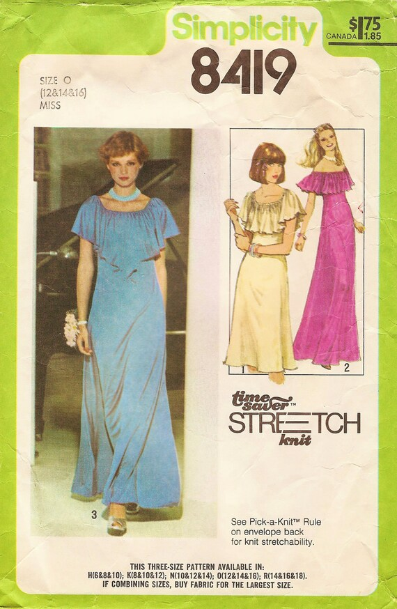 Vintage Sewing Pattern - 1978 Misses Pullover Dress, Simplicity 8419 Size 12-14 Bust 34-36