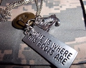 Home is where his boots are necklace- Free Shipping
