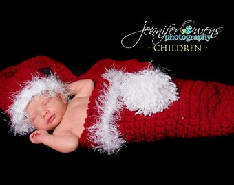 Crochet Newborn Christmas  Hat and Cocoon Photography Prop