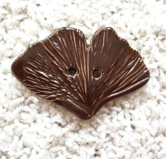 Large Chocolate Ginko Leaf Button Handmade Ceramic