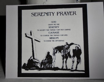 Cowboy Praying SERENITY PRAYER greeting card