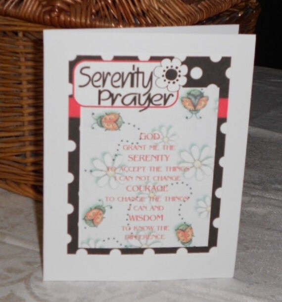 Serenity Prayer printed background of ladybugs and daisies within black and white dot frame Free Shipping
