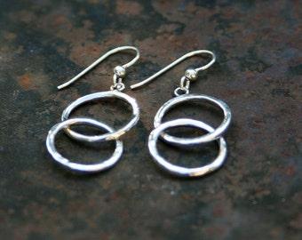 Handmade Hammered Sterling Silver Double Hoop Earrings