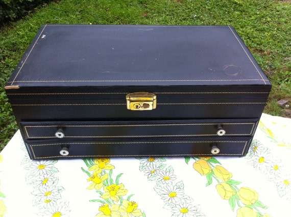 Vintage jewelry box.  Large.  Black with gold detailing.  Red velvet interior.