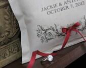 Ring Bearer Pillow , Personalized, Ring Pillows, Spring, Ruby, Red, Burgundy, Garnet, Wedding, Flower Girl, Ring Bearer Pillows