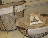 Farmhouse Wire Baskets - Rustic, Organization, Office, Bathroom, Mud Room, Chicken Wire, Baskets, Oatmeal, Gift Baskets
