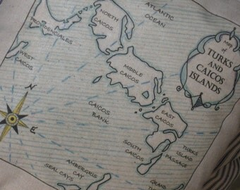 Turks And Caicos Islands Vintage Map Pillow - Blue Pillows, Nautical, Shabby Chic, Lake House, Beach Cottage, Travel