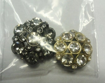 Two Vintage Rhinestone Flower Shape buttons - For Crafts