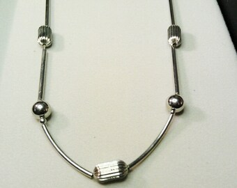 Vintage Silver Tone Long Chain with Silver Beads Necklace