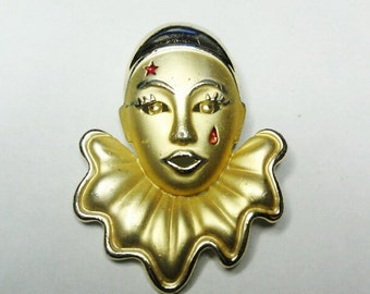 Gold / Golden Mask Theater / Mime  Pin / Brooch