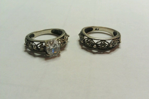 Vintage 925 Silver and Crystal Ring set signed RJ  by AVON Sz 5