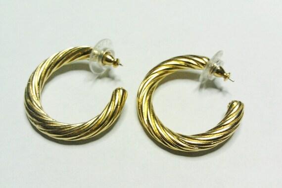 Vintage Gold Tone Twisted Look Hoop Earrings- MONET - Pierced