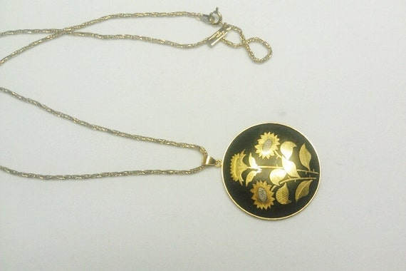 Vintage Japanese Damascene Pendant Necklace - AMITA  -Beautiful