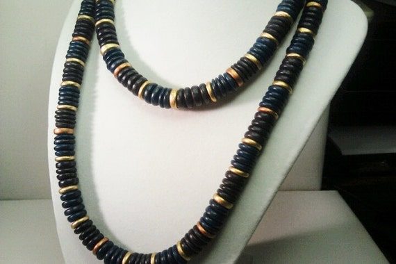 Long Colorful Wood Style Flat Bead Necklace