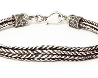 Silver loop-n-loop tapered bracelet - woven