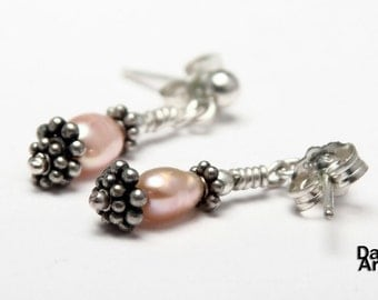 Pink pearl earrings with Bali beads