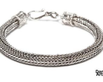 Woven crochet silver bracelet