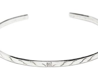 Flat silver bangle bracelet