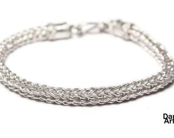 Loop and loop silver bracelet