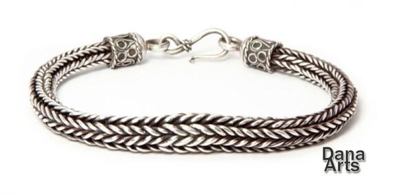 Silver loop-n-loop tapered bracelet - woven
