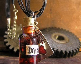 Red Drink Me - Queen of Hearts Vial Necklace - Alice in Wonderland