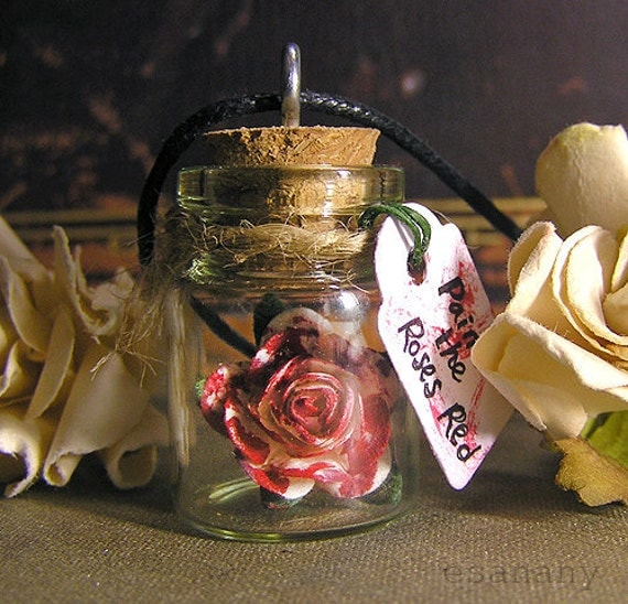 Paint the Roses Red - Alice in Wonderland Vial Necklace - Paper Rose