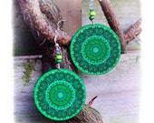 Emerald green mandala Earrings  Round decoupage jewelry green black (A6)