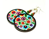 Spring fashion, colorful Folk Flowers polish folk cut out art motif Earrings rainbow colors, gift under 25 (9L)
