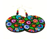 Floral print colorful Folk Flowers polish folk cut out art motif Earrings rainbow colors, Gift for her under 25 (5L)