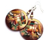 Book Earrings Brown, gift book reader student for her school bookworm teacher,  gift for her under 25 (26)