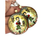 Woodland Girl with owls Round decoupage jewelry Forest creatures earth tones (4)