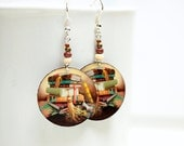 Book Earrings Brown, gift book reader student for her school bookworm teacher, Medium size 3cm Ø, gift for her under 20