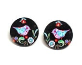 Bird Post Earrings, primitive folk motif studs, Gift for her under 15 (22)