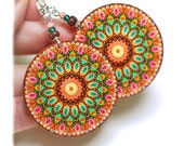Spring rosette Earrings Mandala Round Woodland Pink Brown Green circles, gift for her under 25 (2)