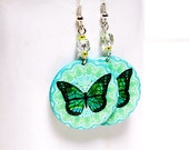 Butterfly Earrings ,Blue and Mint Pastel palette, 2-sided Medium size 3cm Ø, gift for her under 20 (C4)