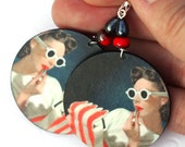 Pin up girl Earrings Retro funky Round decoupage jewelry White Red stripes (11)